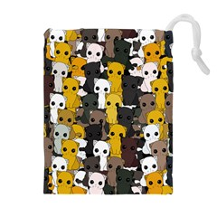 Cute Cats Pattern Drawstring Pouches (extra Large)