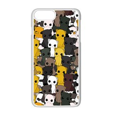 Cute Cats Pattern Apple Iphone 7 Plus White Seamless Case