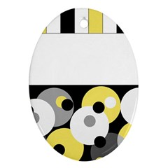 Black, Gray, Yellow Stripes And Dots Ornament (oval)
