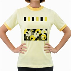 Black, Gray, Yellow Stripes And Dots Women s Fitted Ringer T Shirts