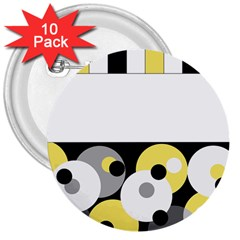 Black, Gray, Yellow Stripes And Dots 3  Buttons (10 Pack)