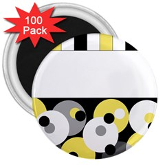 Black, Gray, Yellow Stripes And Dots 3  Magnets (100 Pack)