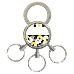 Black, Gray, Yellow Stripes And Dots 3 Ring Key Chains