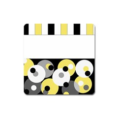 Black, Gray, Yellow Stripes And Dots Square Magnet