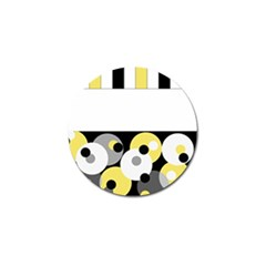 Black, Gray, Yellow Stripes And Dots Golf Ball Marker (4 Pack)