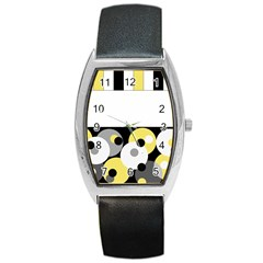 Black, Gray, Yellow Stripes And Dots Barrel Style Metal Watch