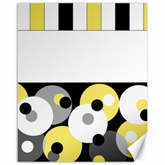 Black, Gray, Yellow Stripes And Dots Canvas 16  X 20
