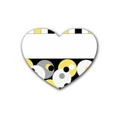 Black, Gray, Yellow Stripes And Dots Heart Coaster (4 Pack)