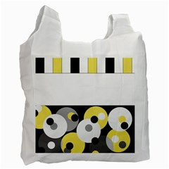 Black, Gray, Yellow Stripes And Dots Recycle Bag (one Side)