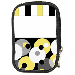 Black, Gray, Yellow Stripes And Dots Compact Camera Cases
