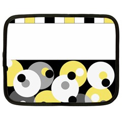 Black, Gray, Yellow Stripes And Dots Netbook Case (xl)