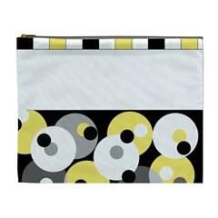 Black, Gray, Yellow Stripes And Dots Cosmetic Bag (xl)