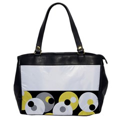 Black, Gray, Yellow Stripes And Dots Office Handbags