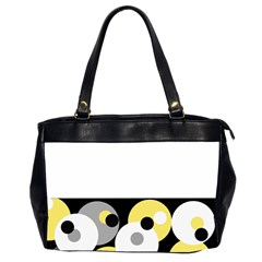 Black, Gray, Yellow Stripes And Dots Office Handbags (2 Sides)