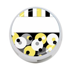 Black, Gray, Yellow Stripes And Dots 4 Port Usb Hub (one Side)