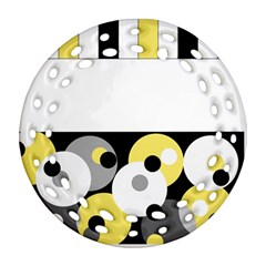 Black, Gray, Yellow Stripes And Dots Round Filigree Ornament (two Sides)