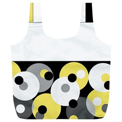 Black, Gray, Yellow Stripes And Dots Full Print Recycle Bags (l)