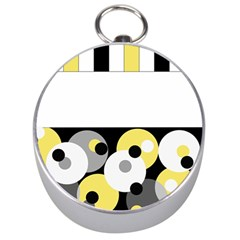 Black, Gray, Yellow Stripes And Dots Silver Compasses
