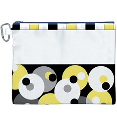 Black, Gray, Yellow Stripes And Dots Canvas Cosmetic Bag (xxxl)
