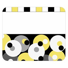 Black, Gray, Yellow Stripes And Dots Double Sided Flano Blanket (small)