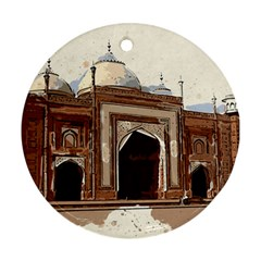 Agra Taj Mahal India Palace Round Ornament (two Sides)