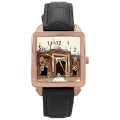 Agra Taj Mahal India Palace Rose Gold Leather Watch