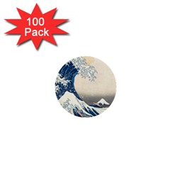 The Classic Japanese Great Wave Off Kanagawa By Hokusai 1  Mini Buttons (100 Pack)