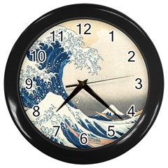 The Classic Japanese Great Wave Off Kanagawa By Hokusai Wall Clocks (black)