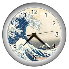The Classic Japanese Great Wave Off Kanagawa By Hokusai Wall Clocks (silver)