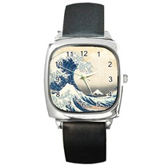 The Classic Japanese Great Wave Off Kanagawa By Hokusai Square Metal Watch