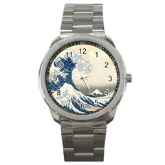 The Classic Japanese Great Wave Off Kanagawa By Hokusai Sport Metal Watch