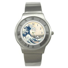 The Classic Japanese Great Wave Off Kanagawa By Hokusai Stainless Steel Watch