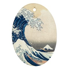 The Classic Japanese Great Wave Off Kanagawa By Hokusai Oval Ornament (two Sides)