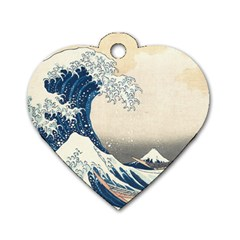 The Classic Japanese Great Wave Off Kanagawa By Hokusai Dog Tag Heart (one Side)