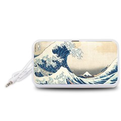 The Classic Japanese Great Wave Off Kanagawa By Hokusai Portable Speaker (white)