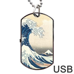 The Classic Japanese Great Wave Off Kanagawa By Hokusai Dog Tag Usb Flash (one Side)