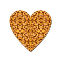 Golden Mandalas Pattern Heart Magnet