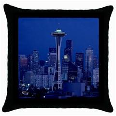 Space Needle Seattle Washington Throw Pillow Case (black)