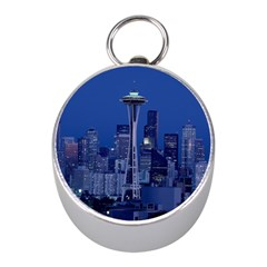 Space Needle Seattle Washington Mini Silver Compasses
