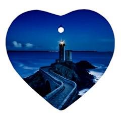 Plouzane France Lighthouse Landmark Ornament (heart)