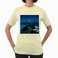 Plouzane France Lighthouse Landmark Women s Yellow T Shirt