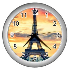 Eiffel Tower Paris France Landmark Wall Clocks (silver)