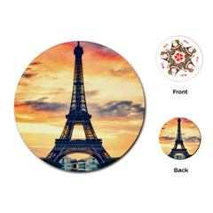 Eiffel Tower Paris France Landmark Playing Cards (round)