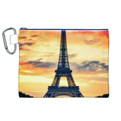 Eiffel Tower Paris France Landmark Canvas Cosmetic Bag (xl)
