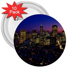 San Francisco California City Urban 3  Buttons (10 Pack)