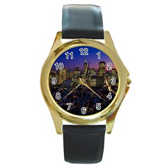 San Francisco California City Urban Round Gold Metal Watch