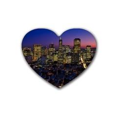 San Francisco California City Urban Rubber Coaster (heart)
