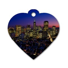 San Francisco California City Urban Dog Tag Heart (two Sides)