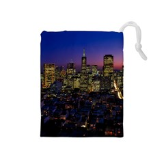 San Francisco California City Urban Drawstring Pouches (medium)