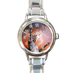 Statue Of Liberty New York Round Italian Charm Watch